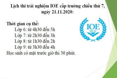 Lịch thi trải nghiệm IOE cấp trường. (Chiều 21/11/2020)